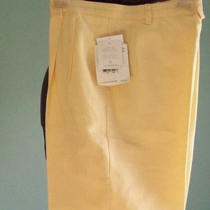 Liz Claiborne Butter Yellow Linen/Cotton Pant NWT
